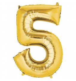 XXL balon številka 5, zlata