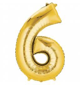 XXL  balon številka 6, zlata