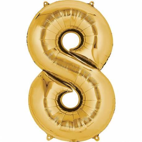 XXL  balon številka 8, zlata