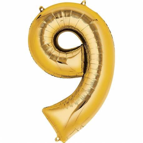 XXL  balon številka 9, zlata