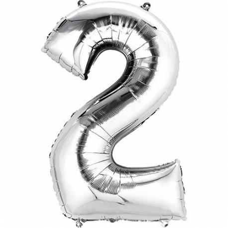XXL balon številka 2, srebrna