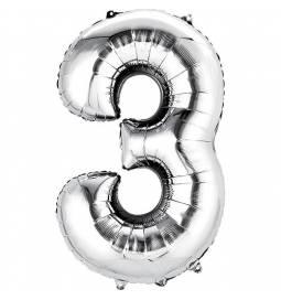 XXL balon številka 3, srebrna