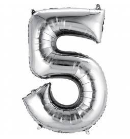 XXL balon številka 5, srebrna