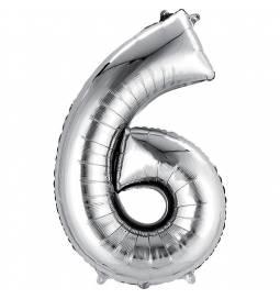 XXL balon številka 6, srebrna