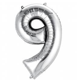 XXL  balon številka 9, srebrna