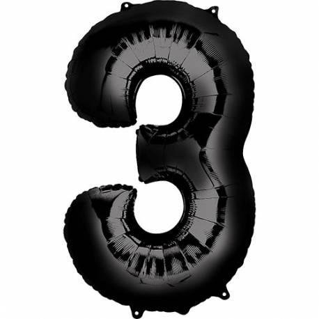 XXL balon številka 3, črna