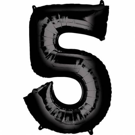 XXL balon številka 5, črna