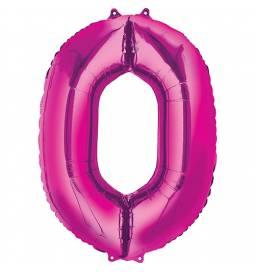 XXL balon številka 0, magenta