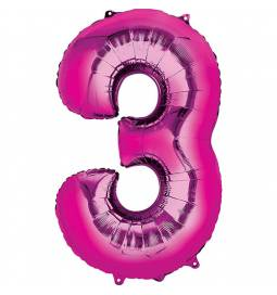 XXL balon številka 3, magenta