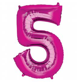 XXL balon številka 5, magenta