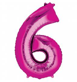 XXL  balon številka 6, magenta