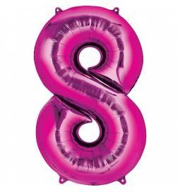 XXL  balon številka 8, magenta
