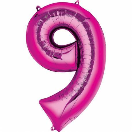 XXL balon številka 9, magenta