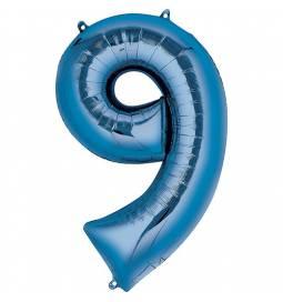 XXL  balon številka 9, moder