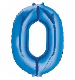 XXL balon številka 0, modra