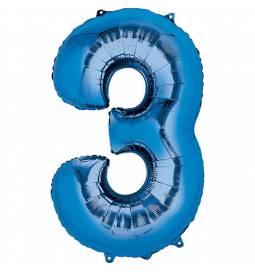 XXL balon številka 3, modra