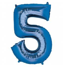 XXL balon številka 5, modra