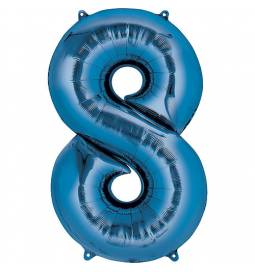 XXL  balon številka 8, moder