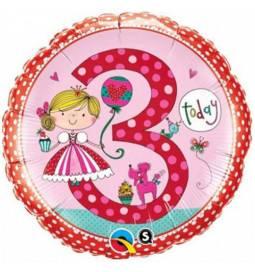 Folija balon 3. rojstni dan, Princess