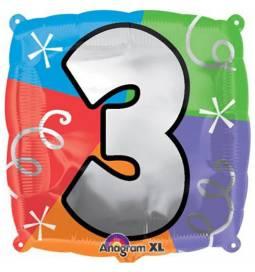 Folija balon 3. rojstni dan, pisan