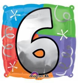 Folija balon 6. rojstni dan, pisan