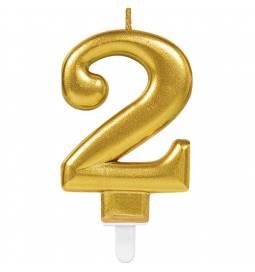 Svečka številka 1 metalik barve, zlata