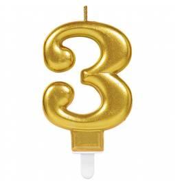 Svečka številka 2 metalik barve, zlata