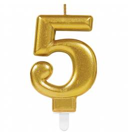 Svečka številka 4 metalik barve, zlata