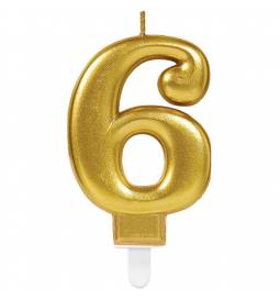 Svečka številka 5 metalik barve, zlata