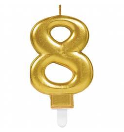 Svečka številka 7 metalik barve, zlata