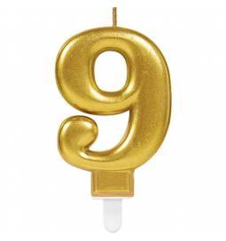 Svečka številka 8 metalik barve, zlata