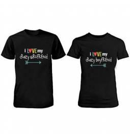Komplet majic za pare, i love my, črni