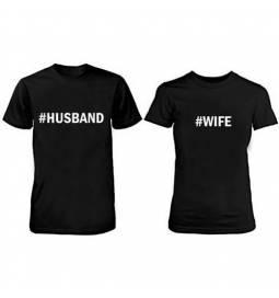 Komplet majic za pare, Husband Wife, črni