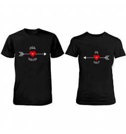Komplet majic za pare, Ona On, črni