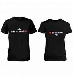Komplet majic za pare, He She, črni