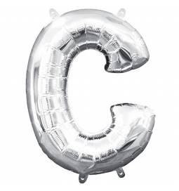Folija balon črka C, srebrna