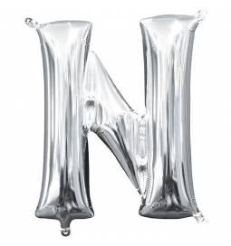 Folija balon črka N, srebrna