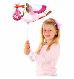 Pink štorklja folija balon na palčki