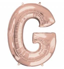 XXL balon črka F, rose gold 86 cm