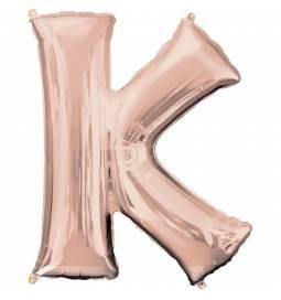 XXL balon črka J, rose gold 86 cm