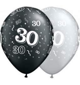 Baloni s številko 30, srebrno črni 10/1