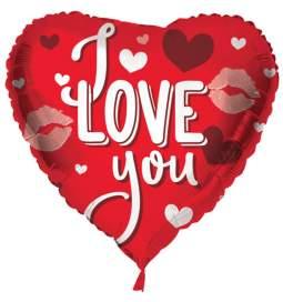 Folija balon Ljubim te, rdeč