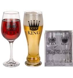 Set pivskih kozarcev King & Queen