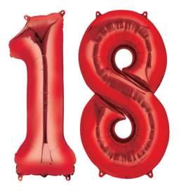 XXL balona številka 18, rdeča