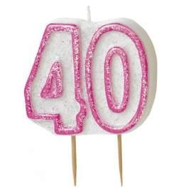 Svečka 40. rojstni dan, Pink z bleščicami