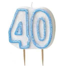 Svečka 40. rojstni dan, Modra z bleščicami