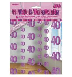 Viseča dekoracija za 40. rojstni dan, pink