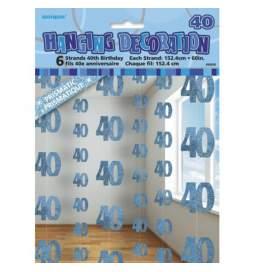 Viseča dekoracija za 40. rojstni dan, modra