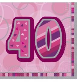Serviete za 40 rojstni dan, Bleščeča Pink