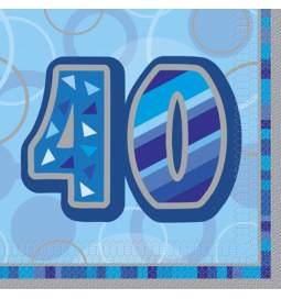 Serviete za 40 rojstni dan, Bleščeča Modri